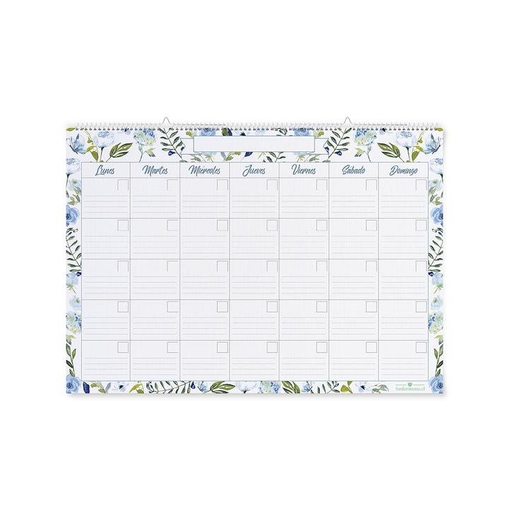 Calendario flores azules grande bolsa