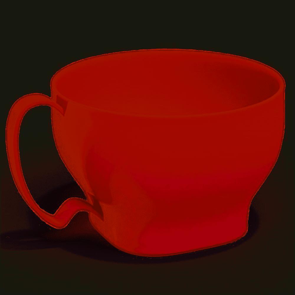 Cumbuca de plástico com alça vermelha