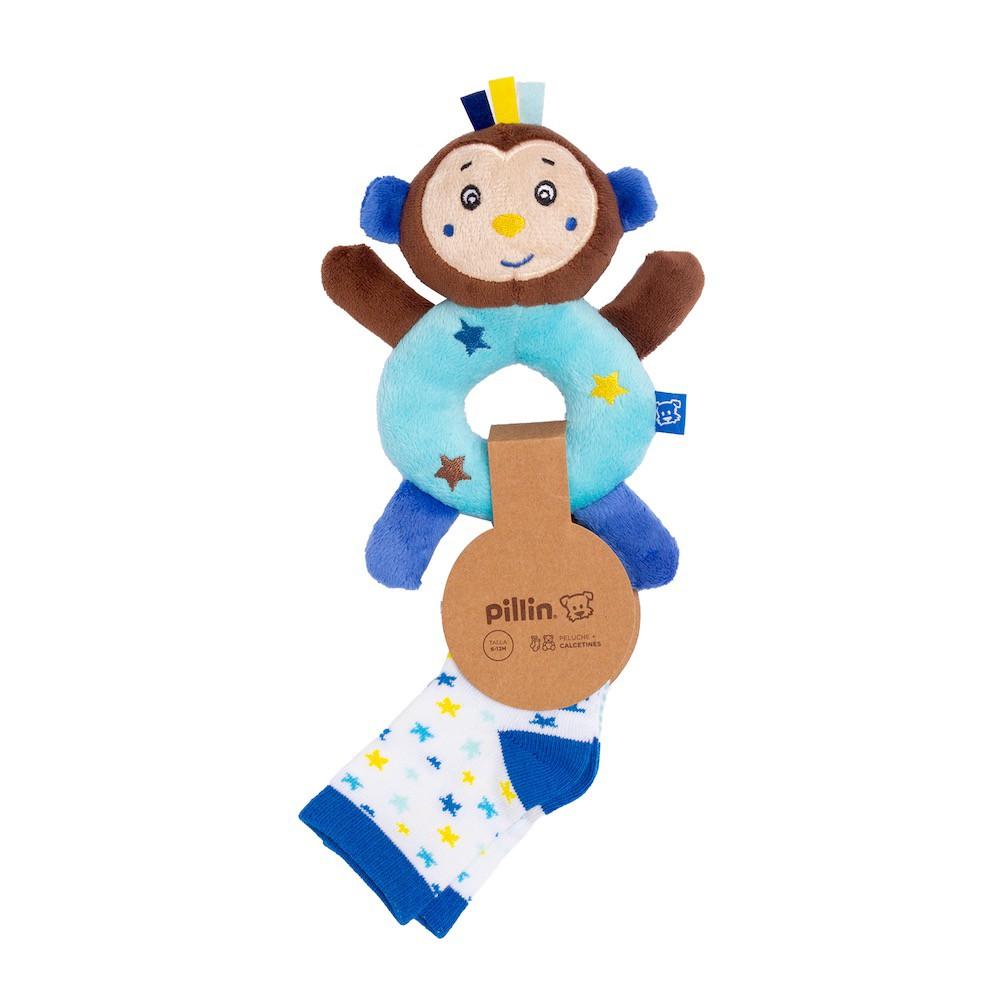 Cascabel bebé y calcetines niño oso Talla 6 M