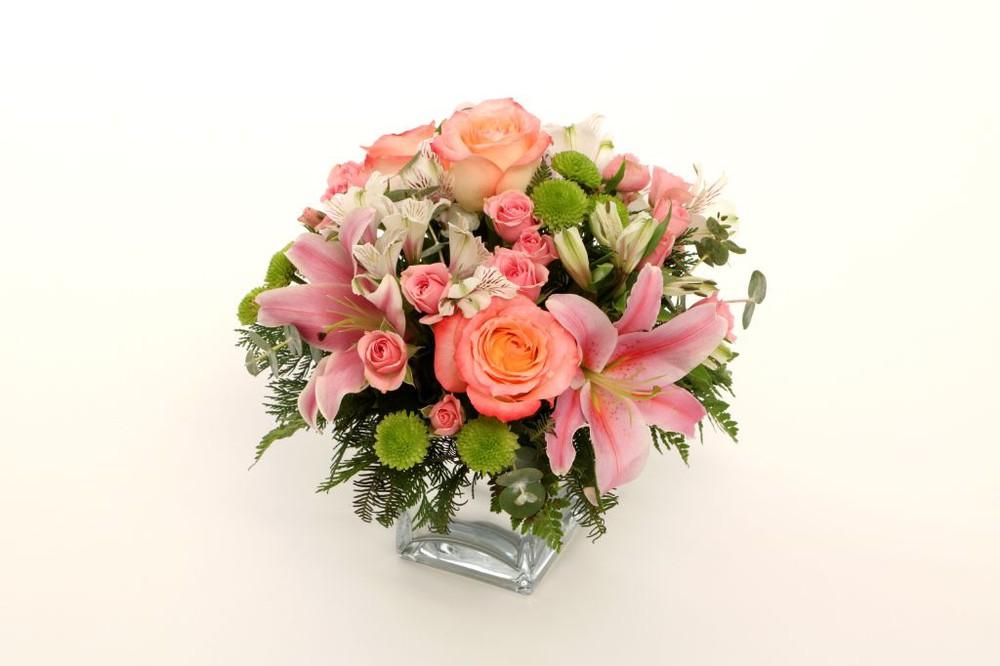 Candida 15 flores en base de vidrio