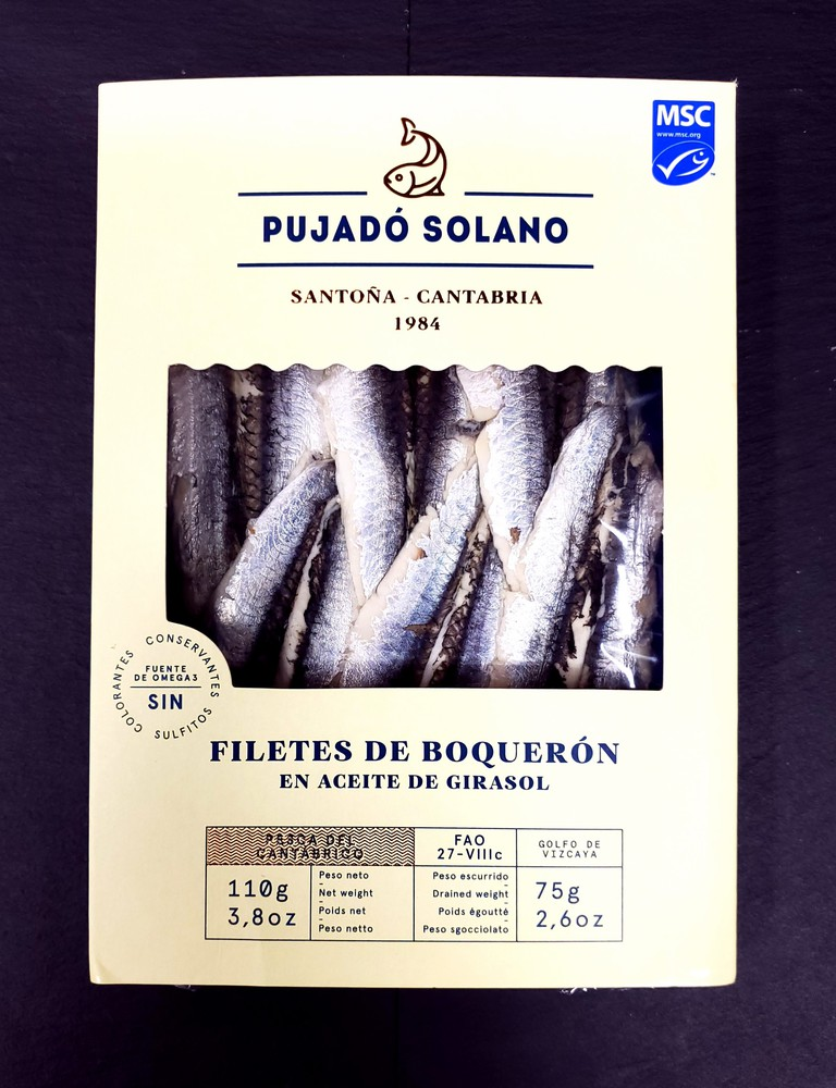White marinated anchovy fillets sunflower oil