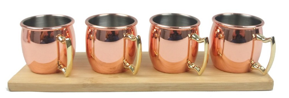 Set 4 Mini Mugs Cobre + Bandeja