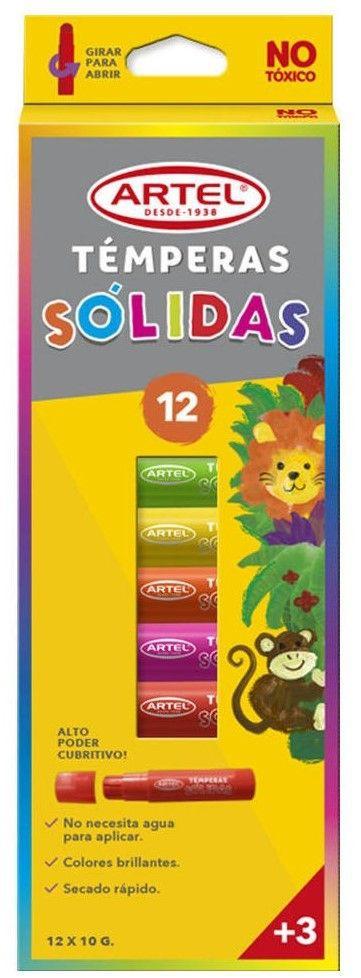 Témpera sólida 12 colores