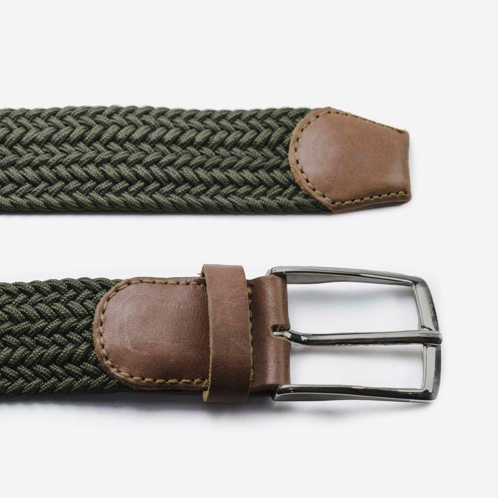 Cinturón elástico verde oscuro para hombre 3.5x105cm