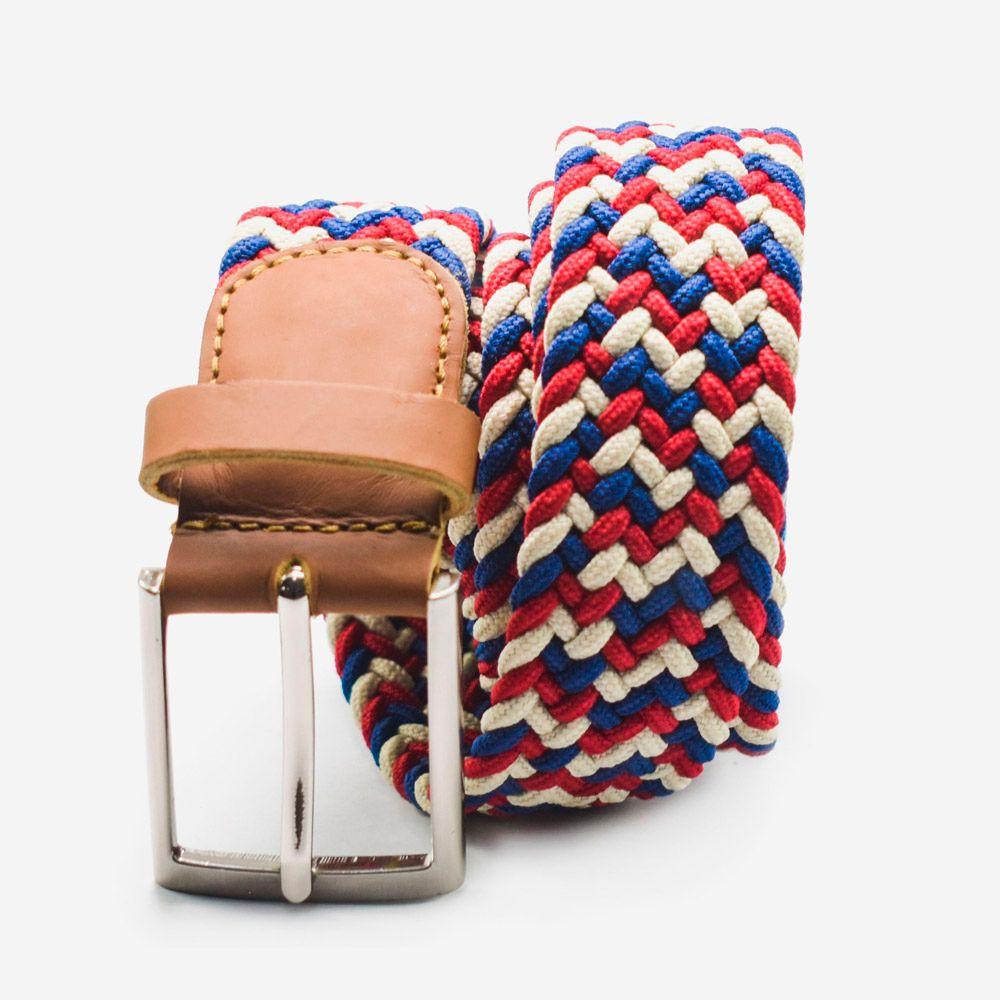 Cinturón elástico multicolor rojo, blanco y azul 3.5x105cm