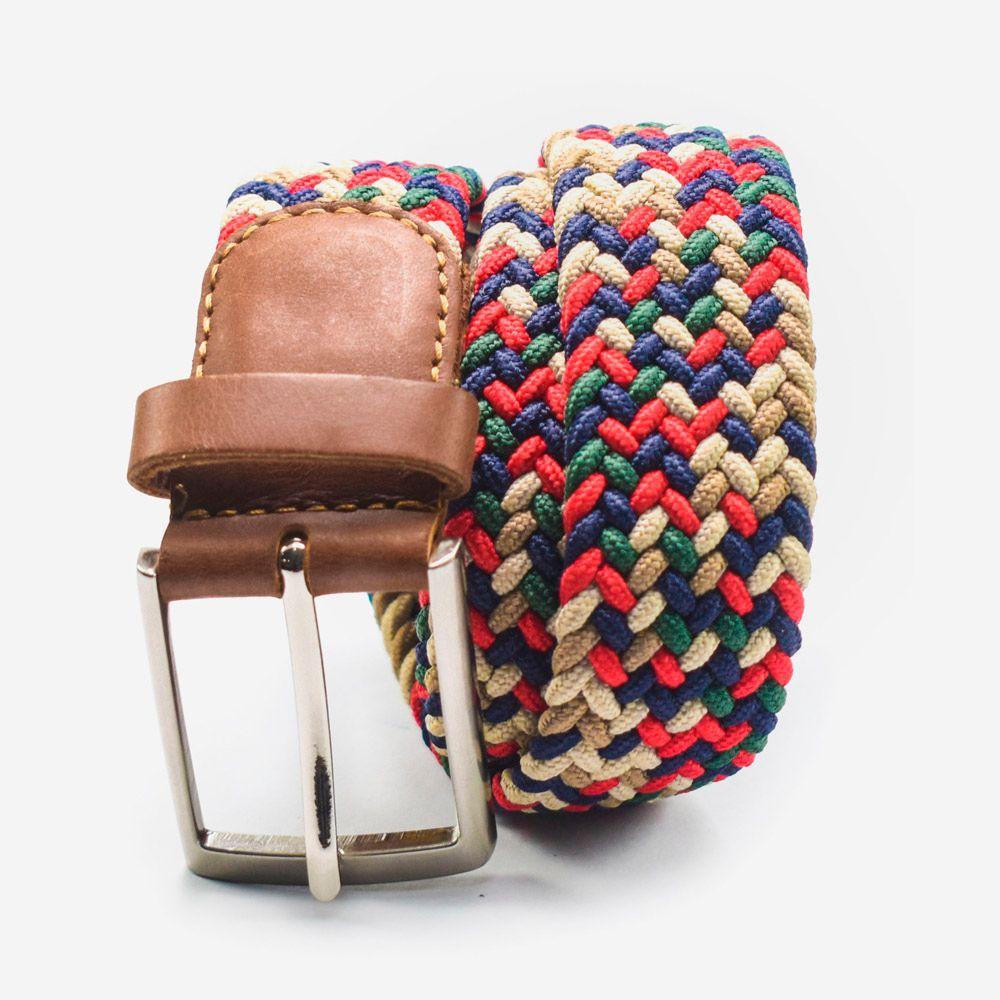 Cinturón elástico multicolor verde, azul, rojo y beige 3.5x105cm