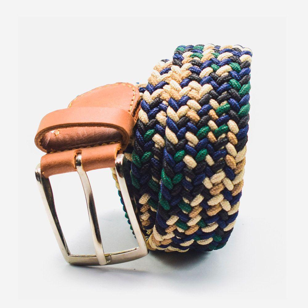 Cinturón elástico multicolor verde, azul, beige, blanco y negro 3.5x105cm