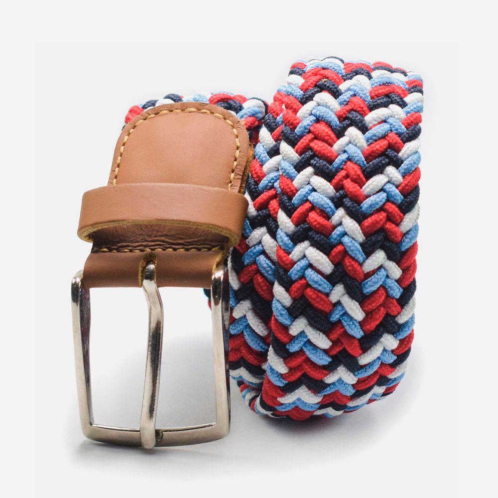 Cinturón elástico multicolor azul claro, rojo, blanco y negro 3.5x105cm