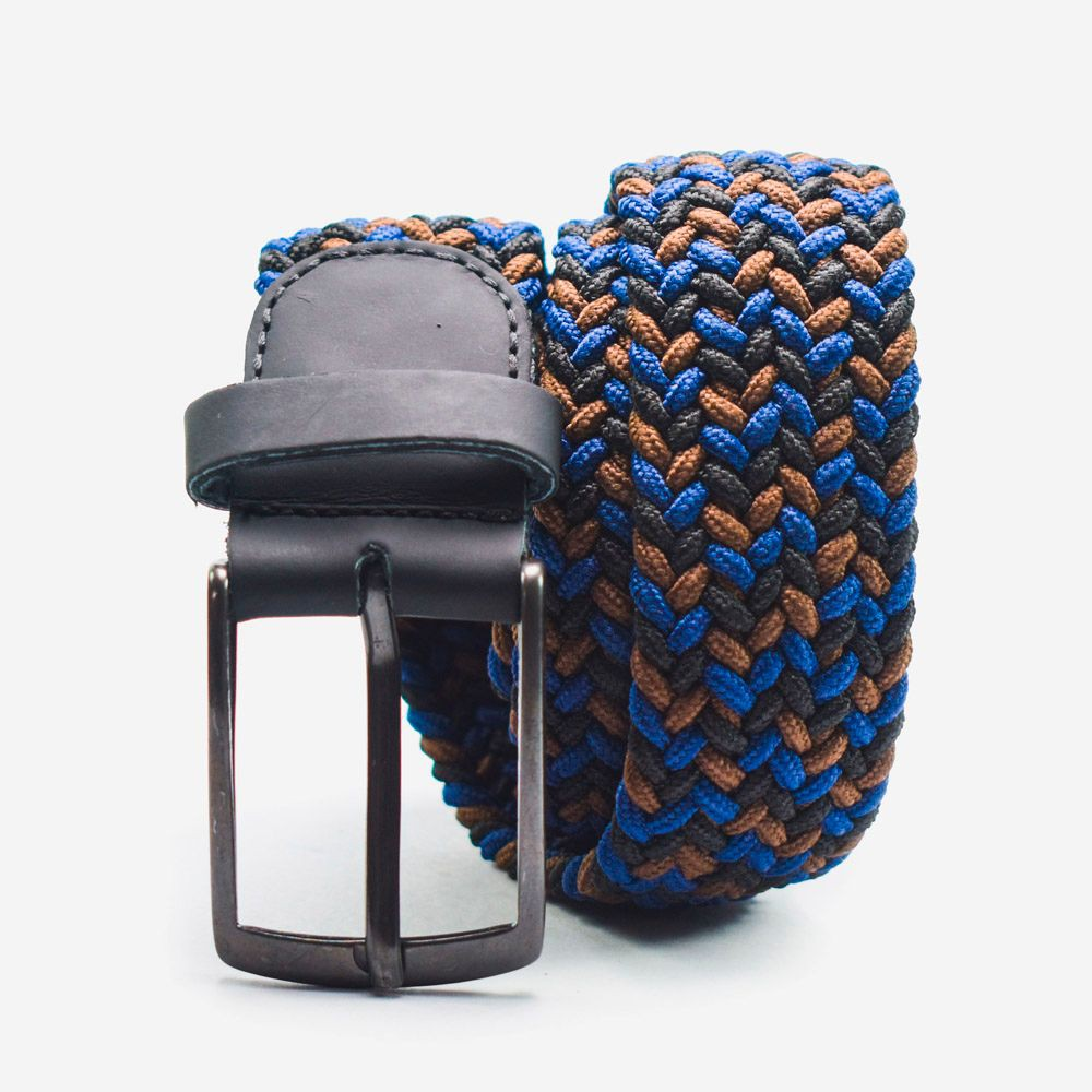 Cinturón elástico multicolor azul, café y negro 3.5x105cm