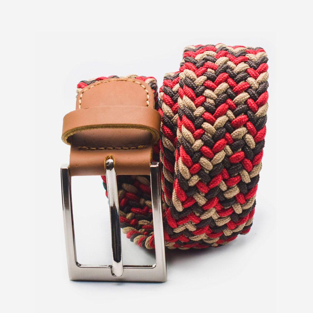 Cinturón elástico multicolor rojo, beige y café 3.5x105cm