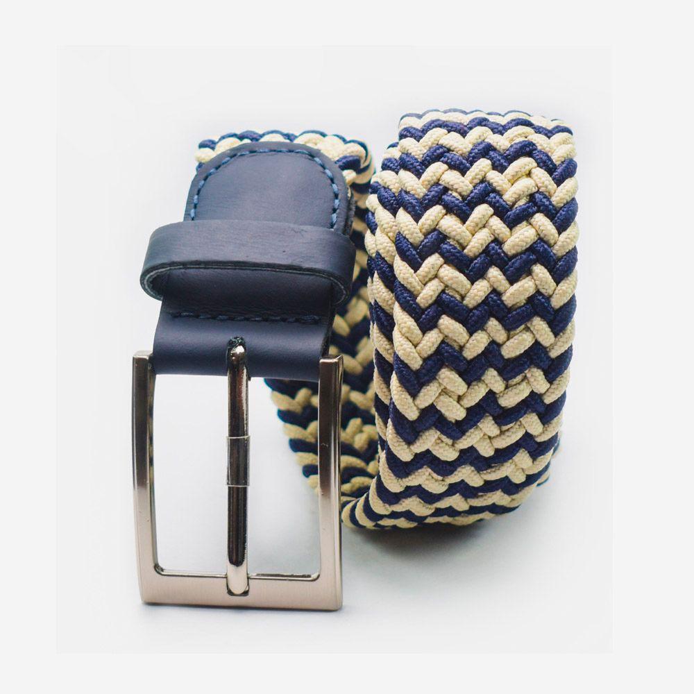 Cinturón elástico 2 colores azul y blanco 3.5x105cm