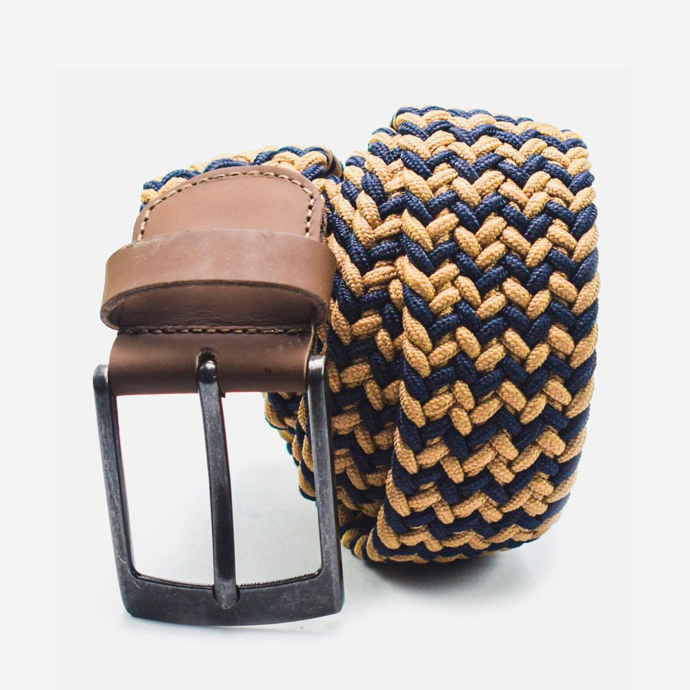 Cinturón elástico 2 colores azul y beige 3.5x105cm