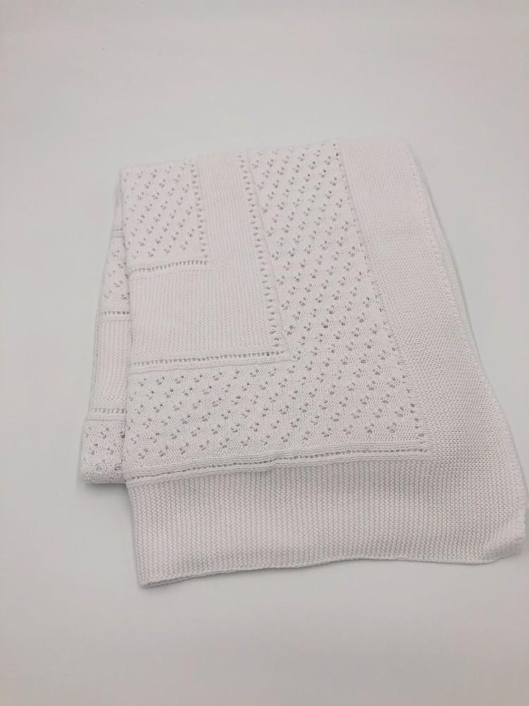 Chal / manta tejido español blanco 1.30 m x 1 m