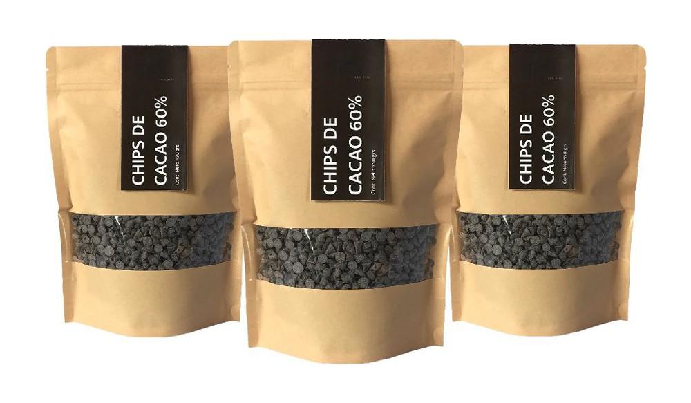 Pack chips de cacao 3 bolsas de 450 grs