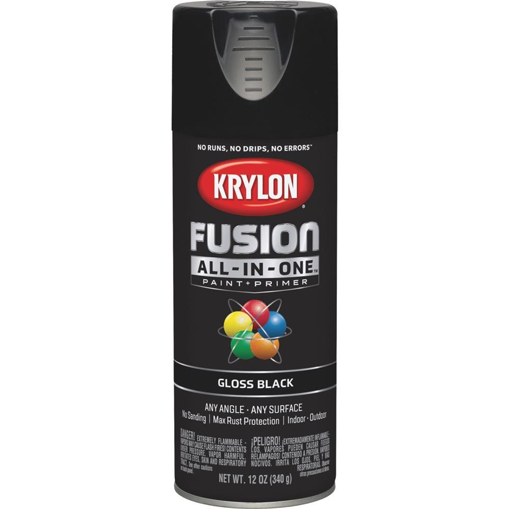Fusion all purpose spray paint and primer; gloss black 12 ounce