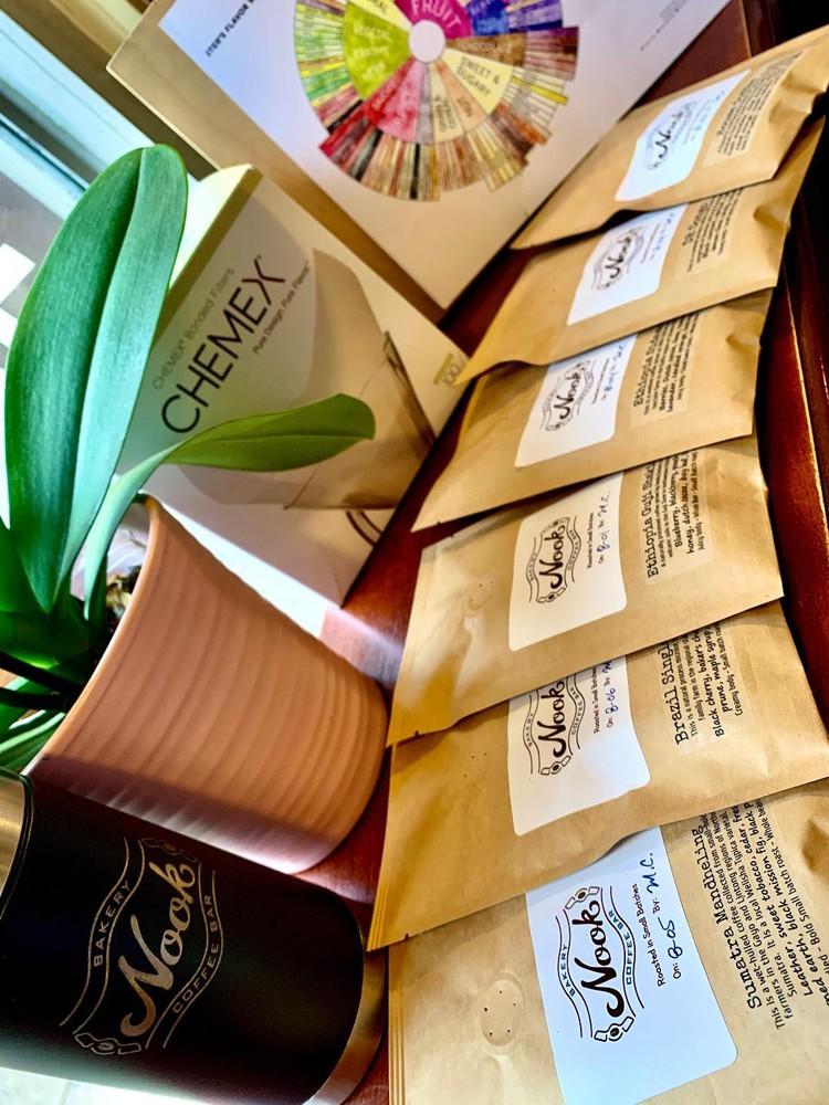 Roaster's choice sampler pack - ground for chemex or hario v60 2 OZ