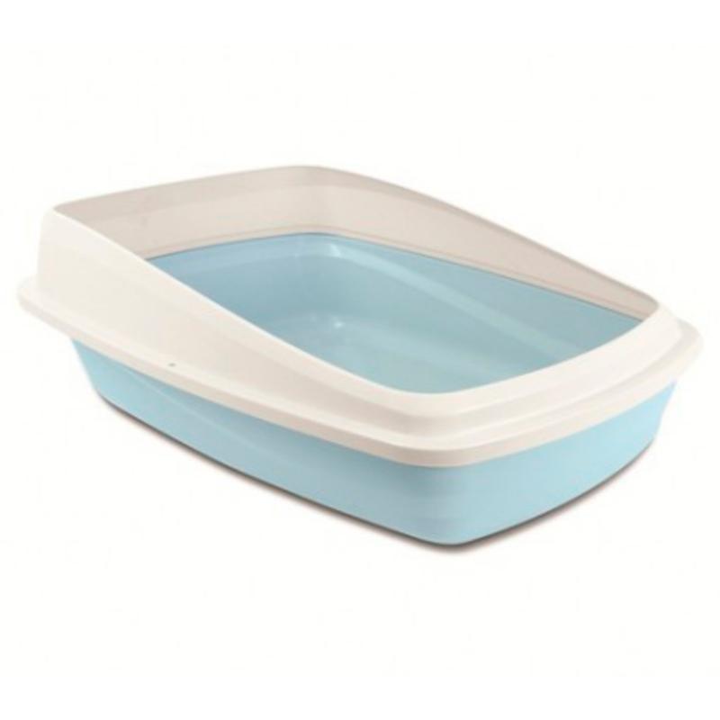 Baño con borde gris/celeste baño de 48cm