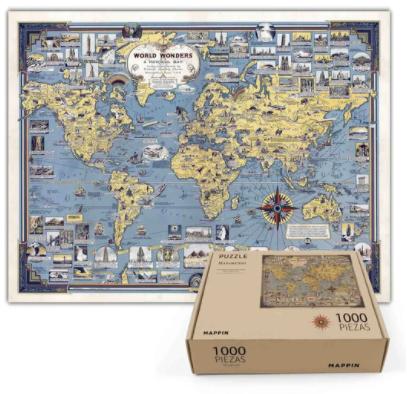 Puzzle mapa de maravillas - 1.000 piezas