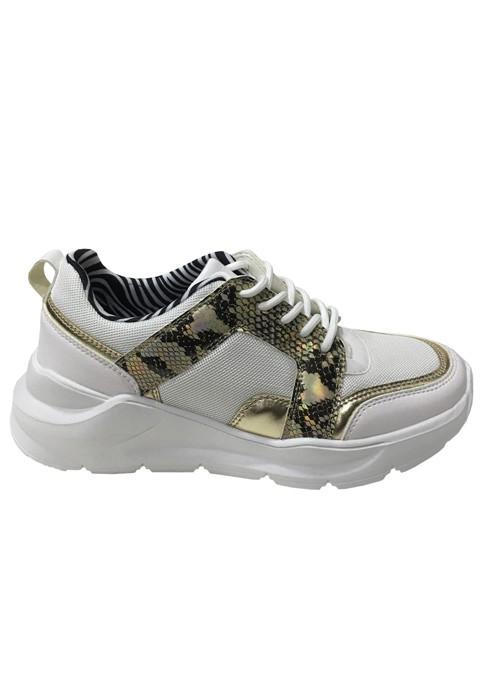 Zapatillas ecocuero dorado