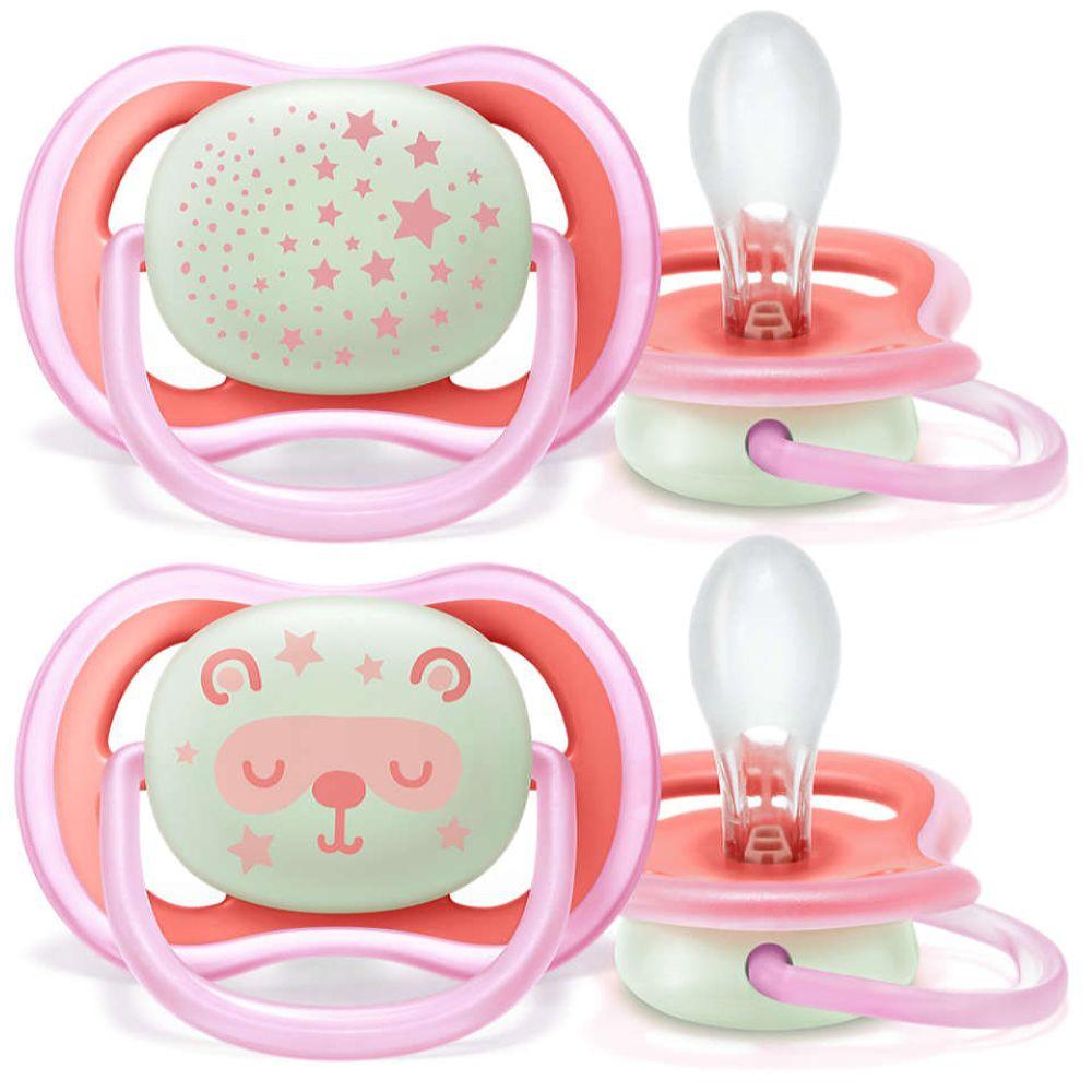Chupete ultra air de 6 a 18 meses rosado 2 piezas