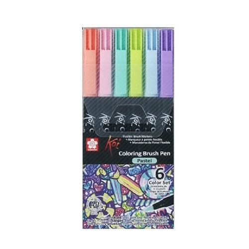 Brush Pen Sakura Set 6 Colores Pastel