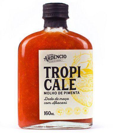 Tropicale molho de pimenta capitão ardêncio molho de pimenta dedo de moça com abacaxi. Vidro com 160 ML