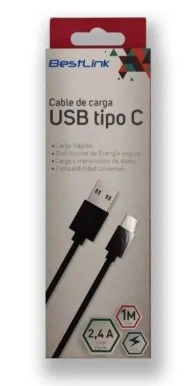 Cable USB a USB-C BL-CH06002B Negro Largo 2mt