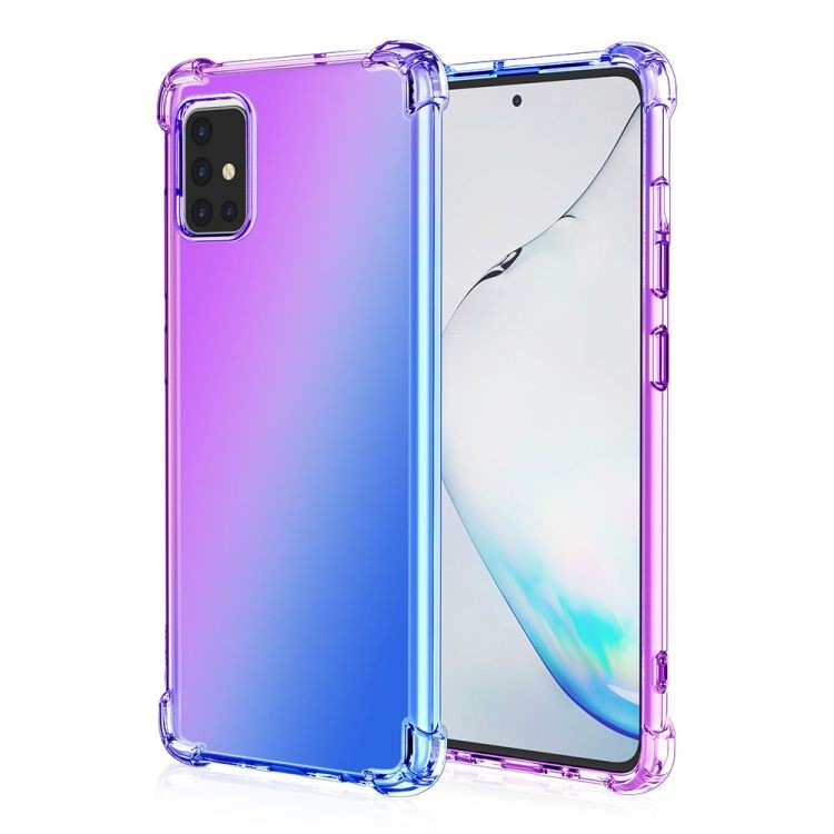 Funda TPU Reforzado Morado/Azul Gradiente Para Samsung Galaxy A71