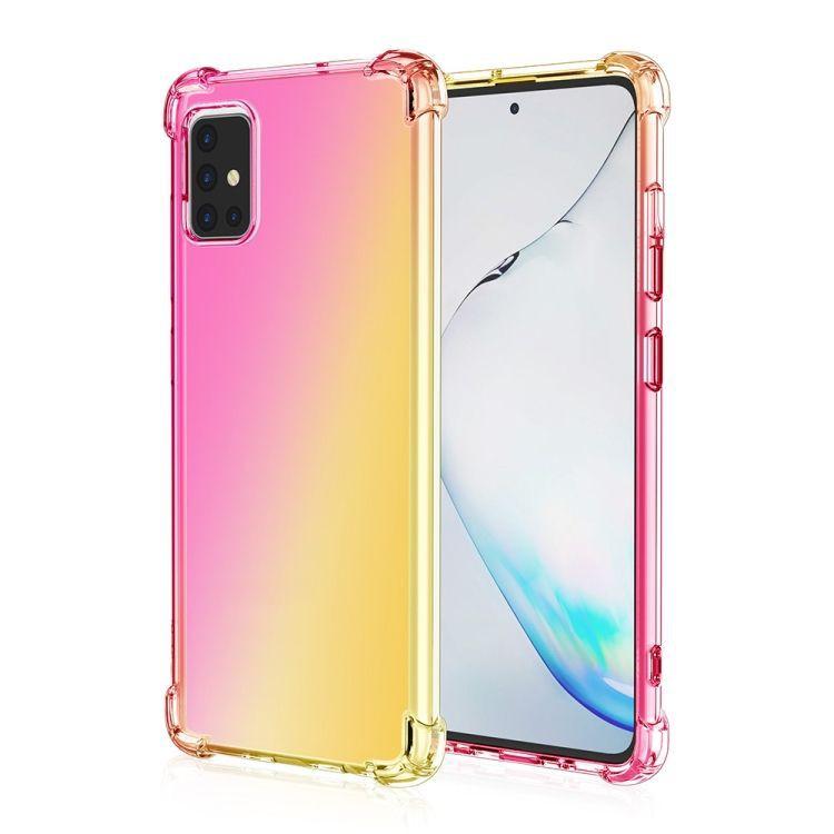 Funda TPU Reforzado Rosado/Oro Gradiente Para Samsung Galaxy A71