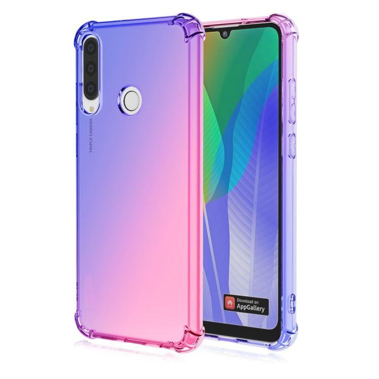 Funda TPU Reforzado Rosado/Azul Gradiente Para Huawei Y6p