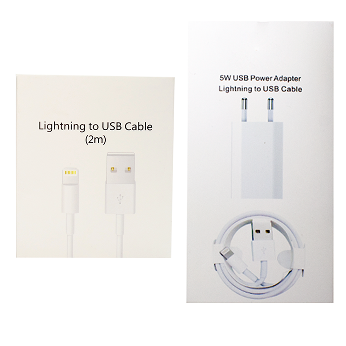 Pack certificado iphone enchufe+cable 1m+cable 2m CAJA 2 UNIDADES