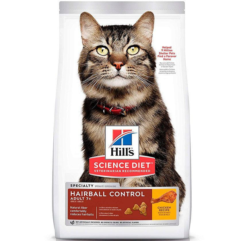 Hills felino adult 7+ hair ball control 1,5 kg alimento para gato