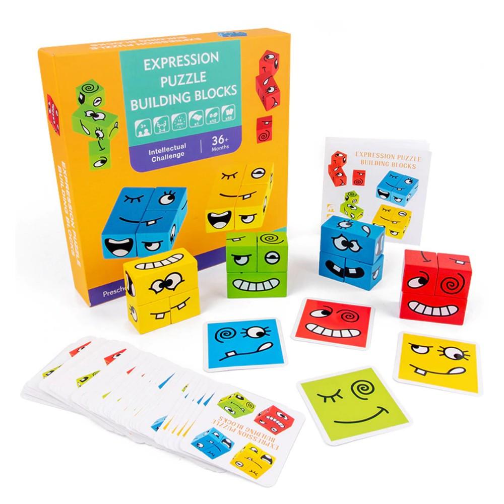 Juego de expresiones Set de 50 tarjeta y 12 bloques de madera