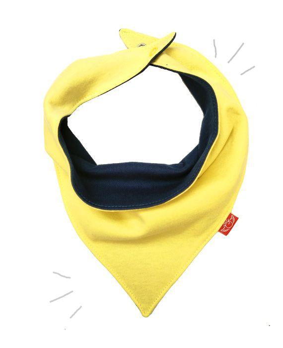 Babero pañuelo reversible amarillo suave / jeans 1 un