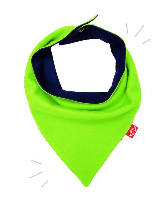 Babero pañuelo reversible verde limón / jeans talla unica