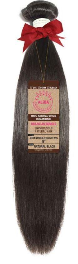"Aliba 9s+ Human Hair Straight Bundle 22"" Natural Black 1 Bundle of 22"""