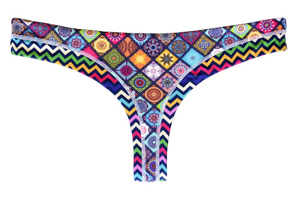 Bikini calzón colaless reversible turquesa