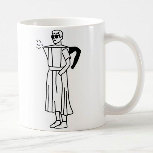 Hombre cafetera tazón