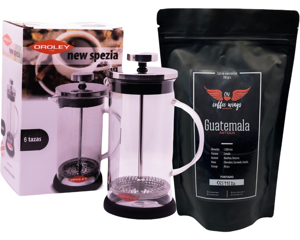 Cafetera francesa + café de guatemala (molido) 350ml + 250 grs
