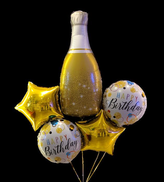 Gold happy birthday bouquet Bouquet de 5 globos