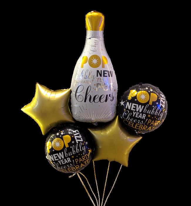 Happy new year bottle bouquet Bouquet de 5 globos
