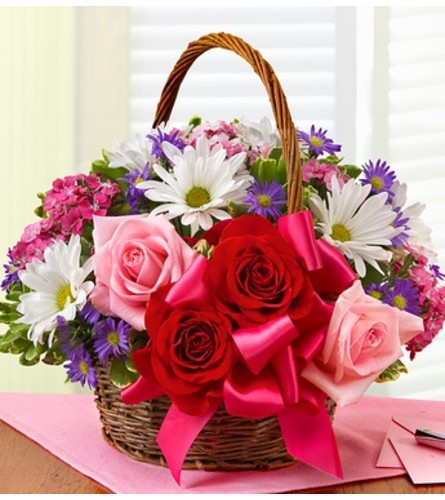"""Basket of love with roses - deluxe 11""""H x 14""""W"""
