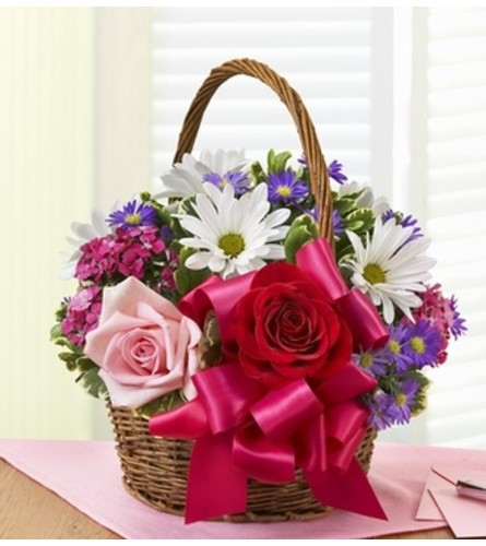 """Basket of love with roses - standard 11""""H x 14""""W"""
