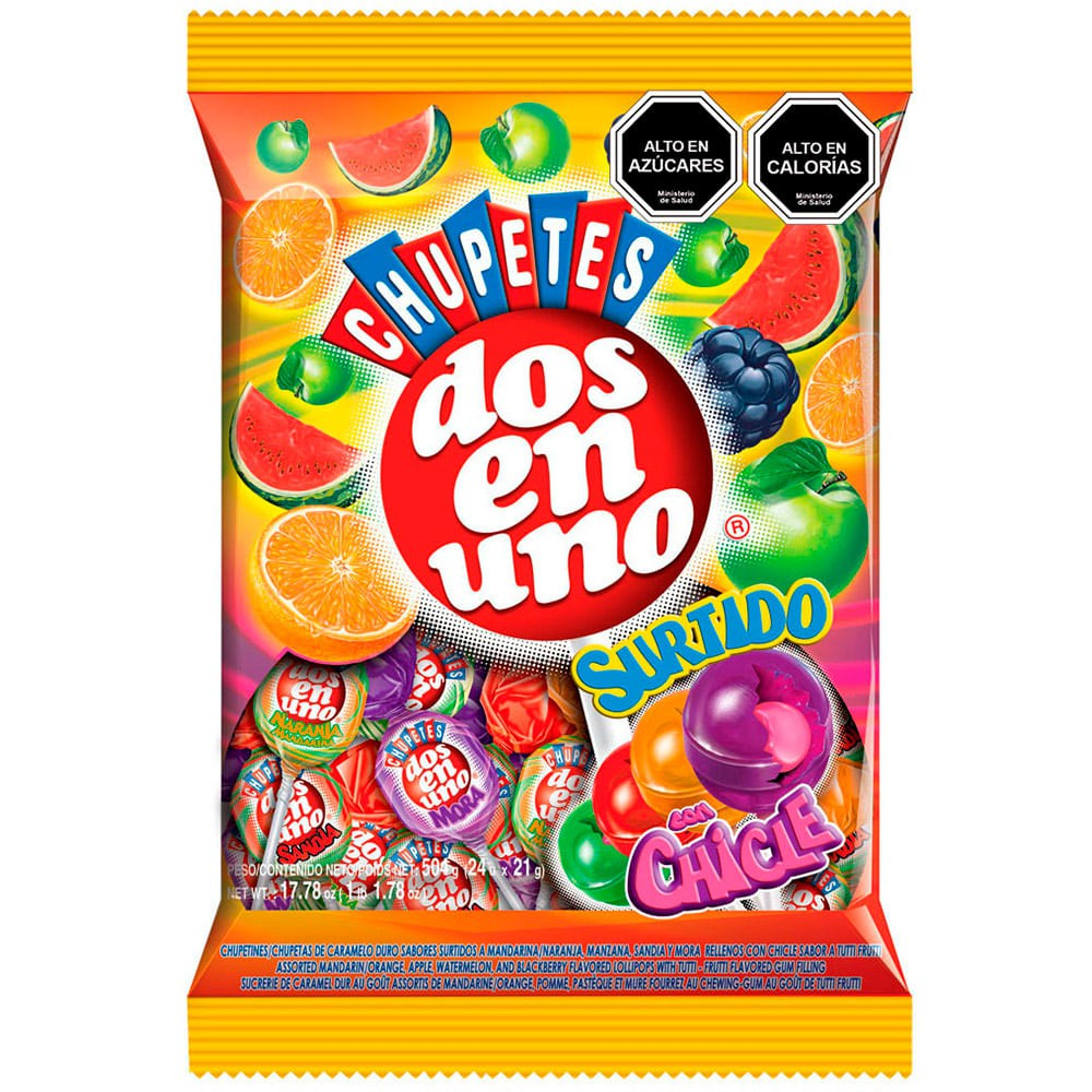 Chupetes con chicle surtido frutal