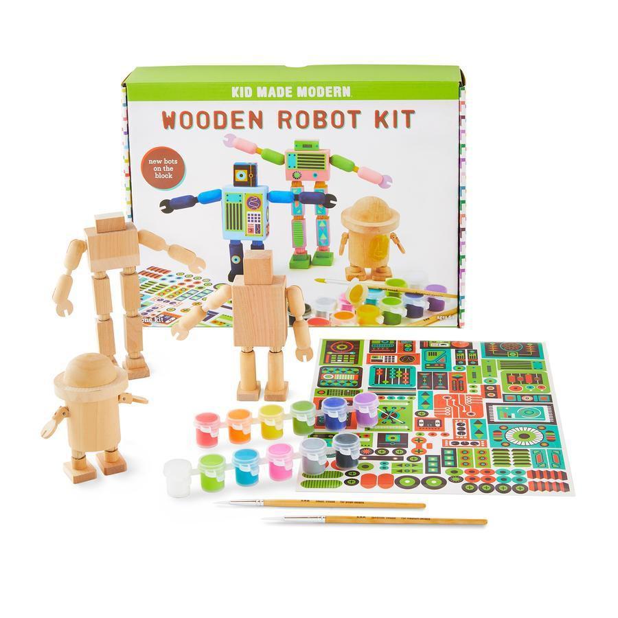 Kid made modern - wooden robot craft kit 1 set
