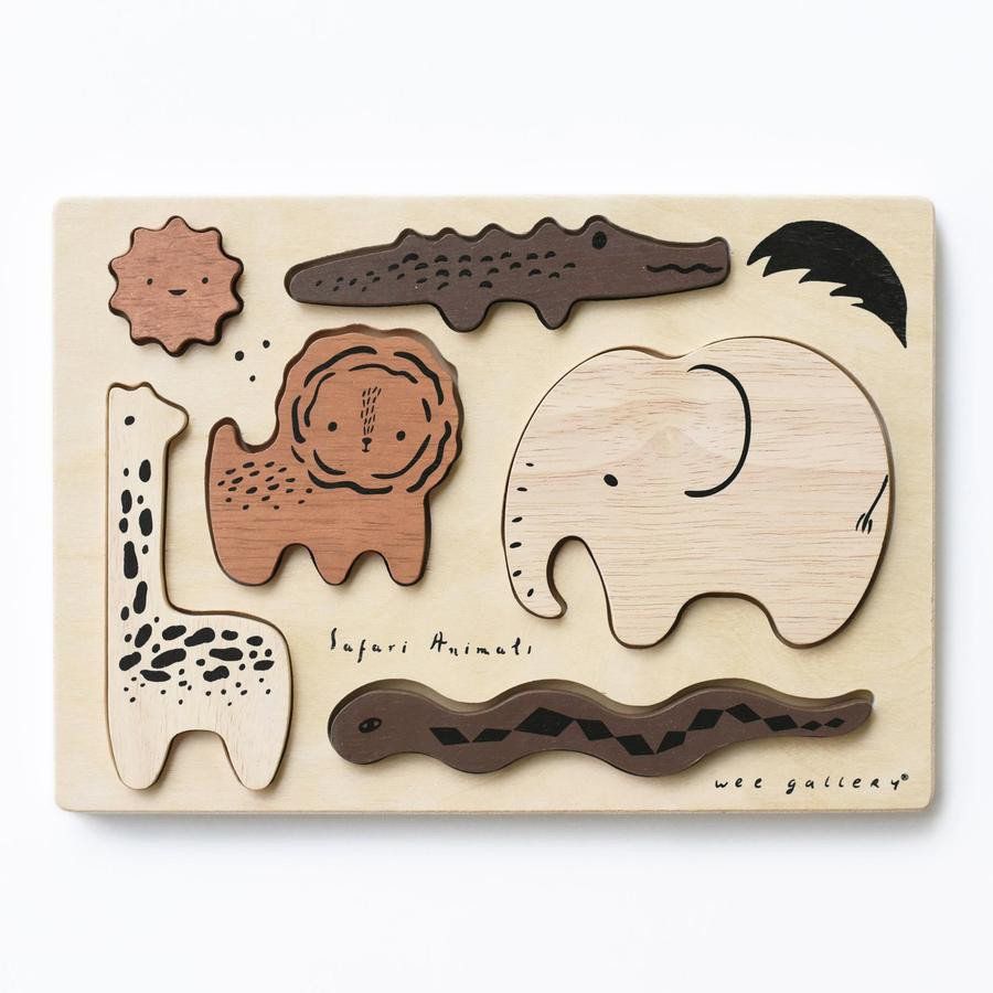 Wee gallery - wooden tray puzzle - safari animals 10 inches x 7 inches