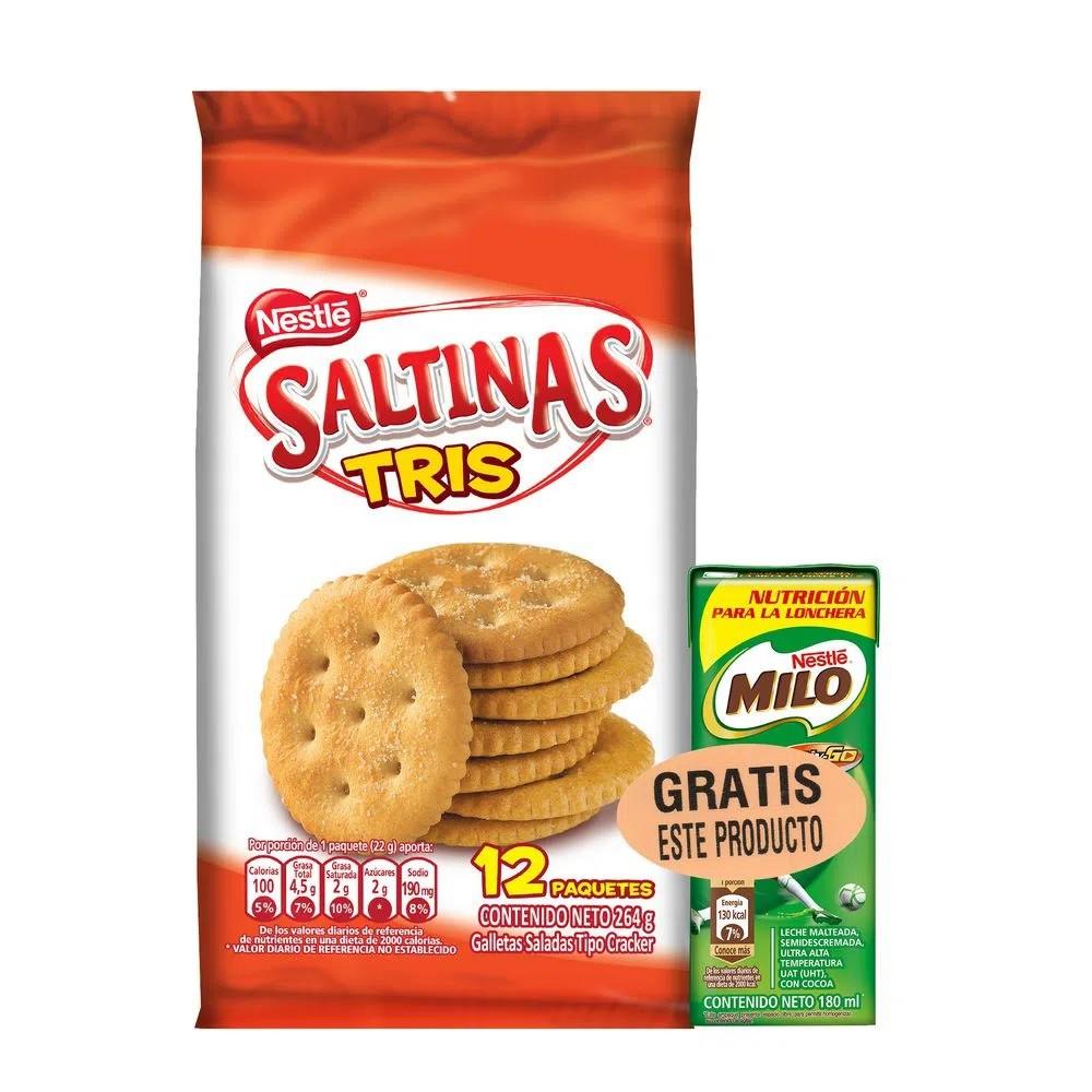 Galletas saladas tris + leche Milo cocoa