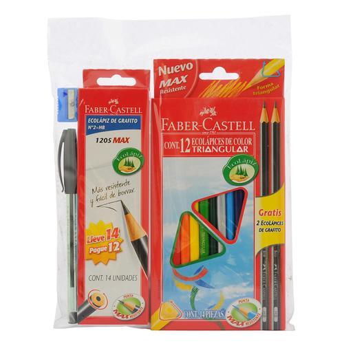 Faber-Castell, Estuche 12 Lapices de Colores + 12 Lapices Gráfitos + Goma de Borrar + Sacapuntas + Bolígrafo