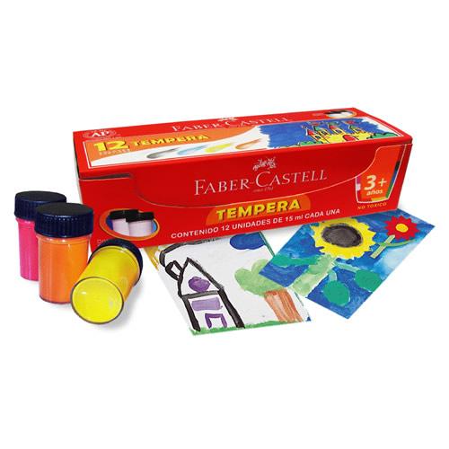 Faber-Castell, Tempera 12 Colores 15ml c/u caja