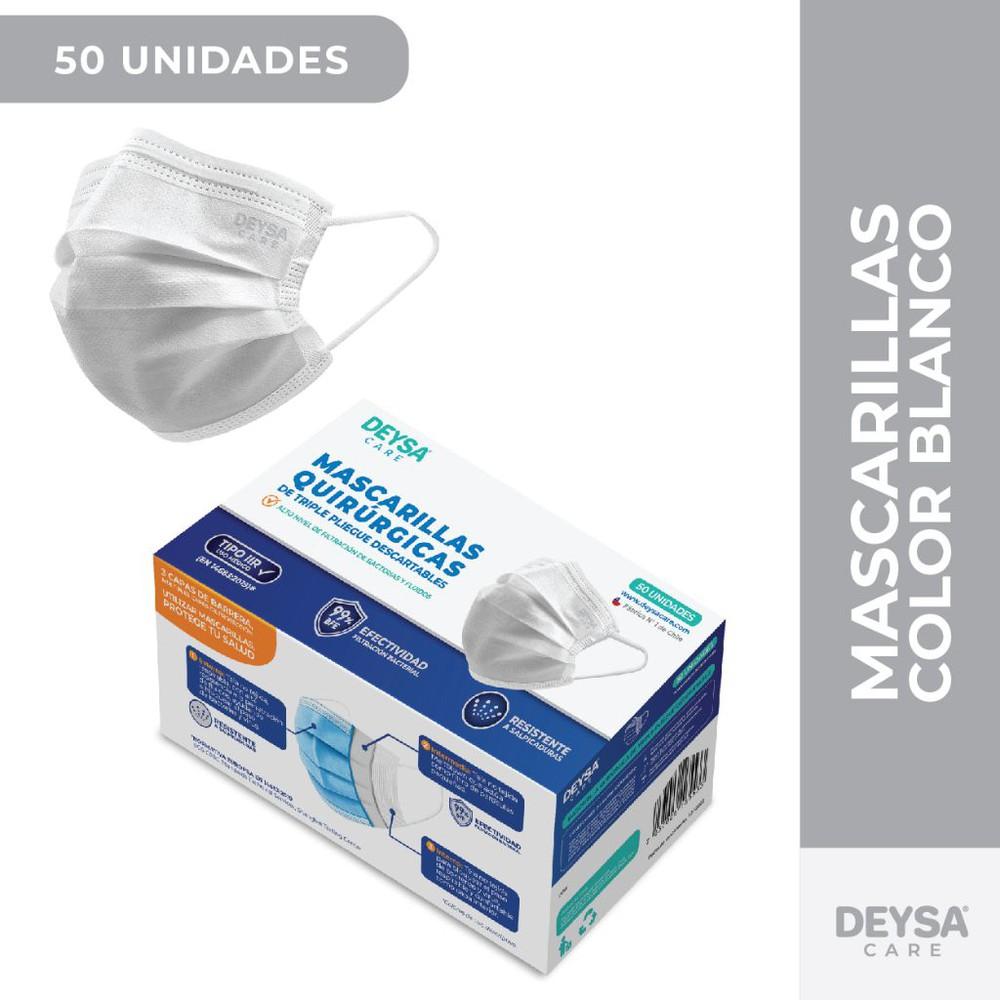 Mascarillas desechables certificadas Blanco Caja 50 u
